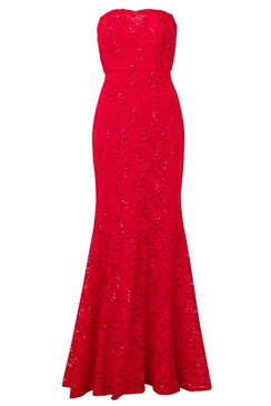 Sistaglam Olivieta red bandeau sequin lace bridal fish tail maxi dress