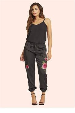Jessica Wright Prim Embellished Satin Trousers
