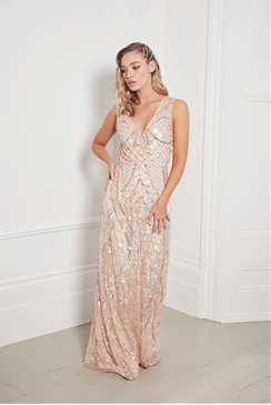 Sistaglam Memo blush all over embellished sleeveless maxi dress
