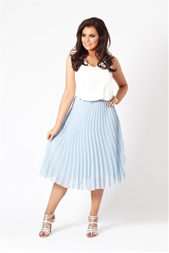 Jessica Wright Leora Cornflower Blue Pleated Midi Skirt