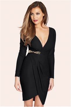 Jessica Wright Tia Black Slinky Long Sleeved Wrap Dress