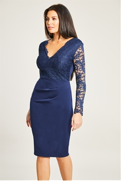 Jessica Wright Bia Navy Long Sleeve Lace 2-In-1 Dress With Rouched Waist