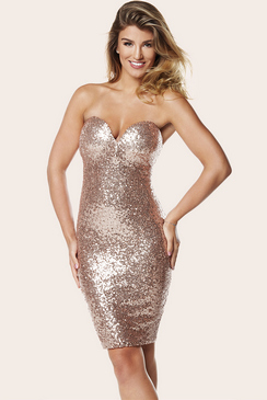 Sistaglam Gold Sequin Sierra Bustier Dress