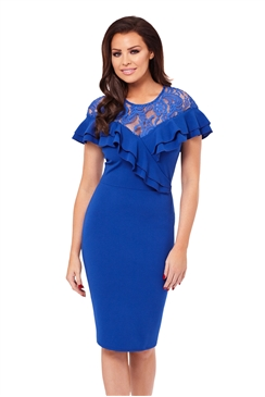 Jessica Wright Kiona Lace Detail Frill Bodycon Dress