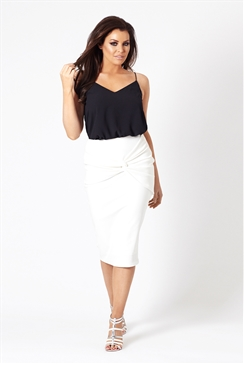 Jessica Wright Myah White Knot Pencil Skirt