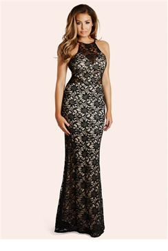 Jessica Wright Sandiya Black & Nude Sequin Lace Racer Front Maxi Dress