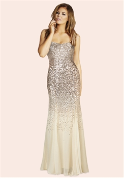 Jessica Wright Orli Gold Sequin Strapless Maxi Dress