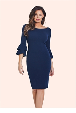 Jessica Wright Izzie Navy Flute Sleeve Bodycon Dress