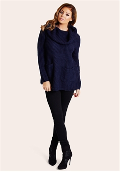 Jessica Wright Charlene Navy Blue Cowl-Neck Jumper