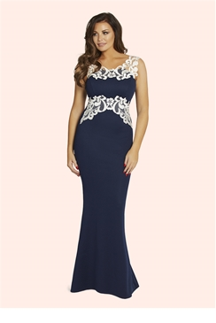 Jessica Wright Karis Navy Lace Trim Maxi Dress