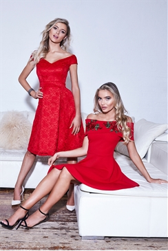 Sistaglam Jadey Red Lace Bardot Prom Dress