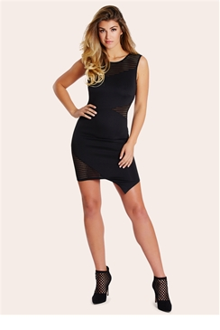 Sistaglam Angela Black Laser Cut Scuba Bodycon Dress