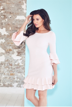 Jessica Wright Riya Nude Frill Hem Bodycon Mini Dress