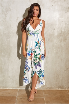 Sistaglam Loves Jessica Wright Lindana multi floral maxi cami strappy stretch dress