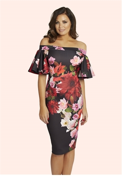 Jessica Wright Lexi Floral Print Bardot Frill Sleeve Dress