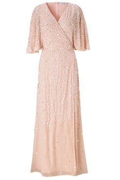 Sistaglam Goldy gold embellished wrap maxi dress