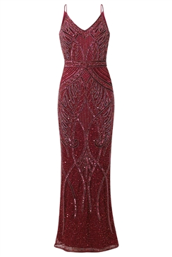 Sistaglam Special Edition Jessica Rose Flory berry full beaded maxi dress