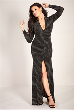 Sistaglam Loves Jessica Wright Aurora silver black plunge neck ruched glitter lurex maxi dress with sleeves