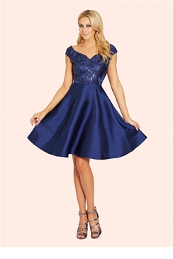 Sistaglam Pearla Navy Embellished Sateen Prom Dress