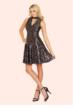 Sistaglam Ayalla Sequin High Neck Keyhole Skater Dress