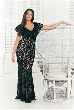 Sistaglam Loves Jessica Wright Symona black and nude off the shoulder frilled all over lace maxi dress