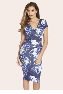 Jessica Wright Shaney Blue Floral Wrap Front Midi Dress