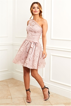 Sistaglam Kayla pink sweetheart lace skater dress