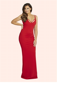 Jessica Wright Jez Red Jersey Maxi Dress