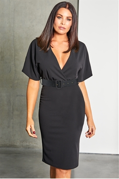 Jessica Wright loves Sistaglam Harris black bodycon wrap neckline and matching buckle belt dress