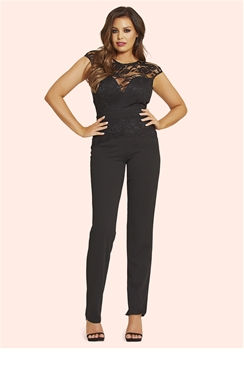 Jessica Wright Blair Black Lace Overlay Jumpsuit