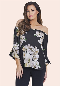 Jessica Wright Lozzy Multicolour Floral Bardot Top With Tie Sleeve