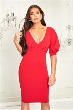 Sistaglam Loves Jessica Wright Klizia red v neck bodycon midi dress with blouson sleeve detail
