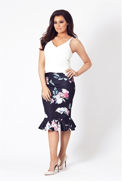 Jessica Wright Anala Navy Multicolour Floral Skirt