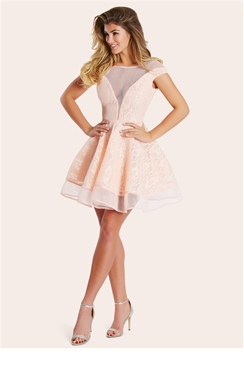 Sistaglam Susan Peach Bonded Lace Prom Dress