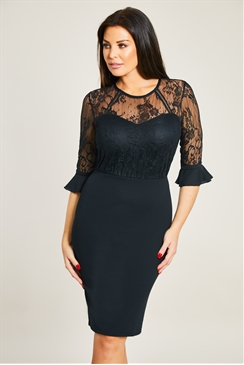 Jessica Wright Fannie Black Midi Lace 3/4 Sleeve Bodycon Dress