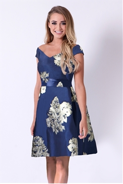 Sistaglam Milene Navy and Gold Floral Print Bardot Midi Dress