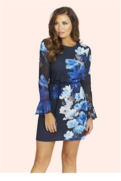 Jessica Wright Blue Floral Print Regina Shift Dress