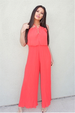 Jessica Wright Lucienne orange pleated jumpsuit frill halter neck