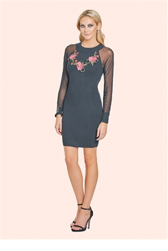 Sistaglam Isadora Black Sheer Sleeved Trimmed Bodycon Jumper Dress