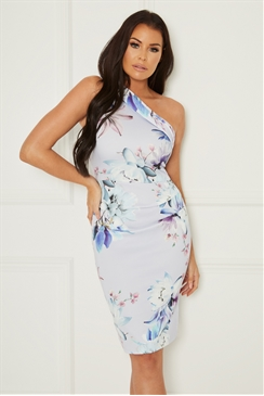 Sistaglam Loves Jessica Wright Avva multi floral one shoulder bodycon dress