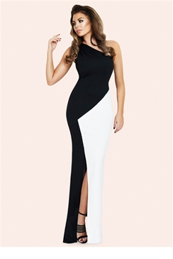 Jessica Wright Candice Monochrome One Shoulder Maxi Dress