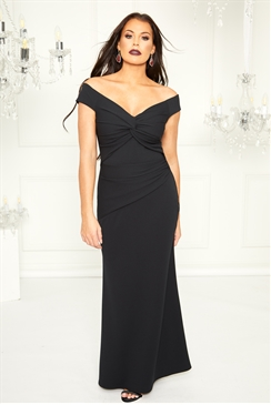 Sistaglam Loves Jessica Wright Marina black bardot maxi dress with knot detail