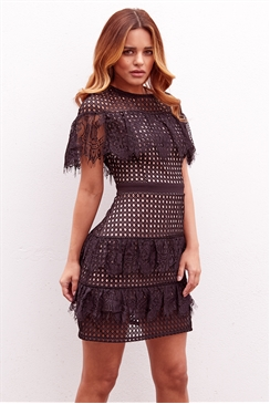 Sistaglam Leanna black frill mesh lace short sleeve mini dress