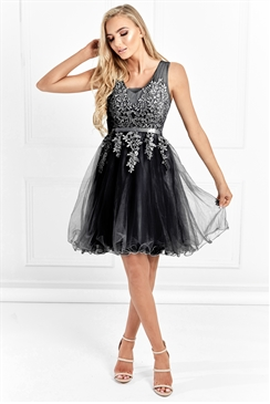 Sistaglam Josefinie Black Mesh Embroidered Lace Skater Prom Dress