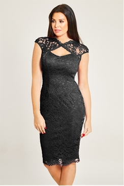 Jessica Wright Rylee Black Lace Midi Bodycon Dress With Keyhole Sweetheart Neckline And Cap Sleeve