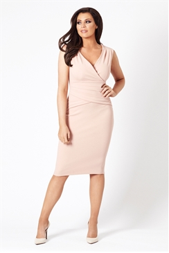 Jessica Wright Kirsty Nude V-neck Bodycon Dress