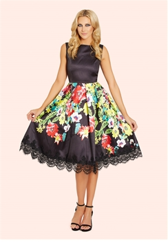 Sistaglam Julie Floral Printed Lace Trim Hem Prom Dress