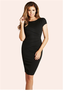 Jessica Wright Vicky Black Pleated Midi Dress