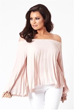 Jessica Wright Scilla Nude Off The Shoulder Long Sleeved Top