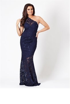 Jessica Wright Angela Sequin Navy One Shoulder Maxi Dress